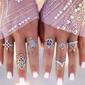 Boho Purple Crystal Tibetan Knuckle Midi Ring Set